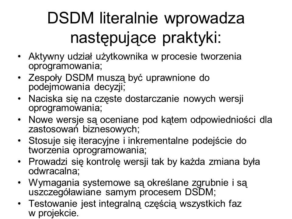 DSDM literalnie wprowadza następujące praktyki: