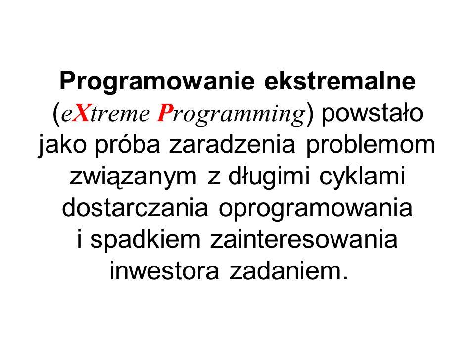 Programowanie ekstremalne (eXtreme Programming) powstało jako próba zaradzenia problemom związanym z długimi cyklami dostarczania oprogramowania i spadkiem zainteresowania inwestora zadaniem.