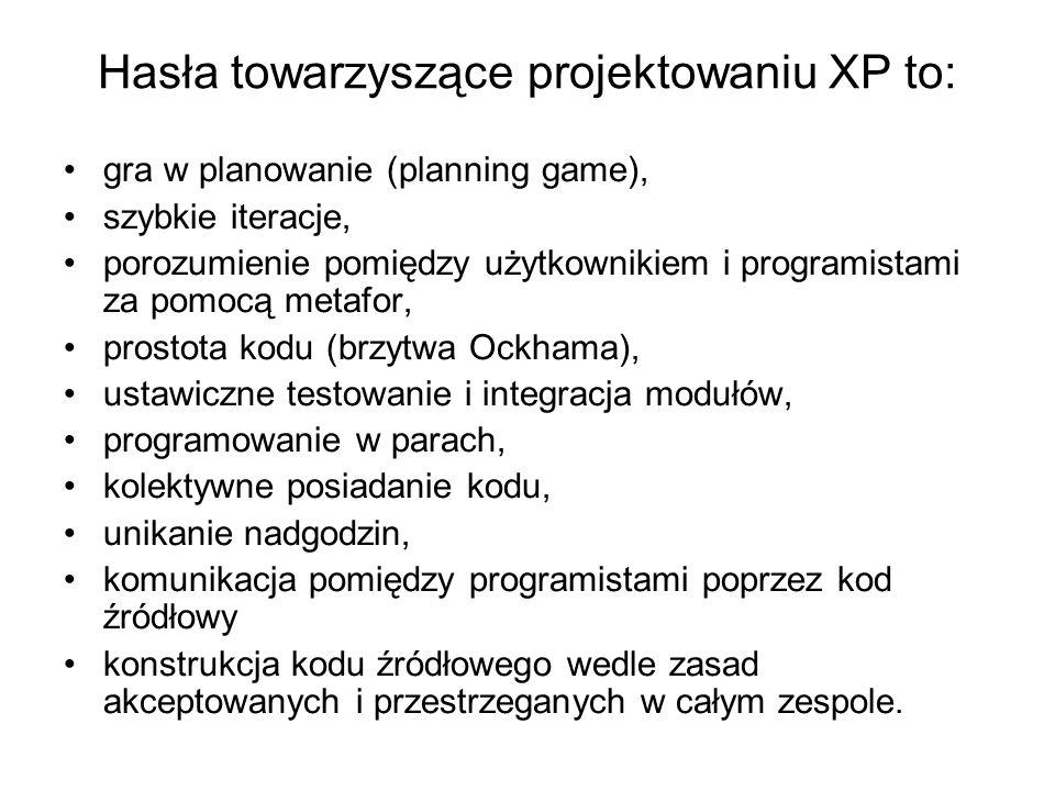 Hasła towarzyszące projektowaniu XP to: