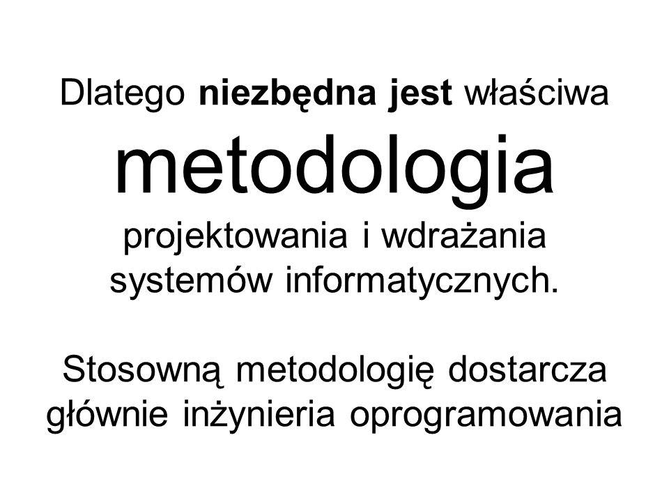 Dlatego niezbędna jest właściwa metodologia projektowania i wdrażania systemów informatycznych.