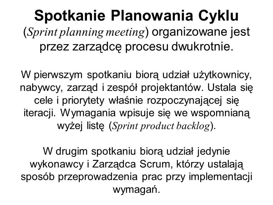 Spotkanie Planowania Cyklu (Sprint planning meeting) organizowane jest przez zarządcę procesu dwukrotnie.