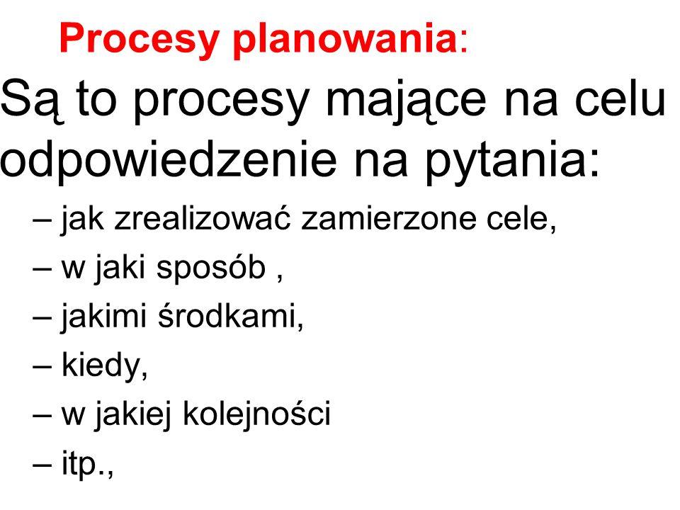 Są to procesy mające na celu odpowiedzenie na pytania: