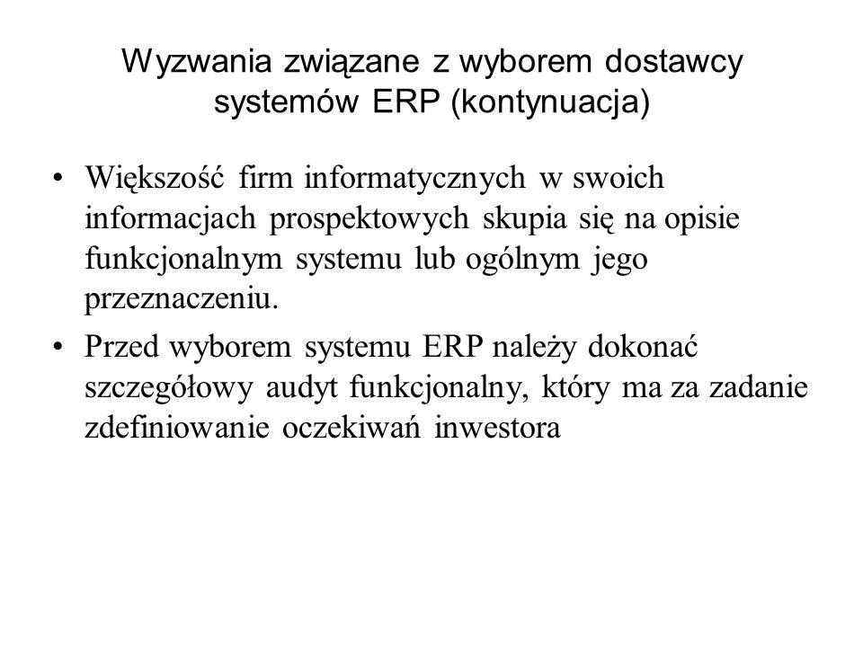 Wyzwania związane z wyborem dostawcy systemów ERP (kontynuacja)