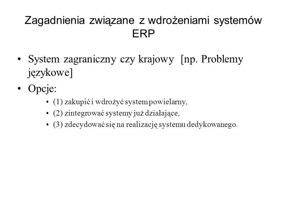 Zagadnienia związane z wdrożeniami systemów ERP