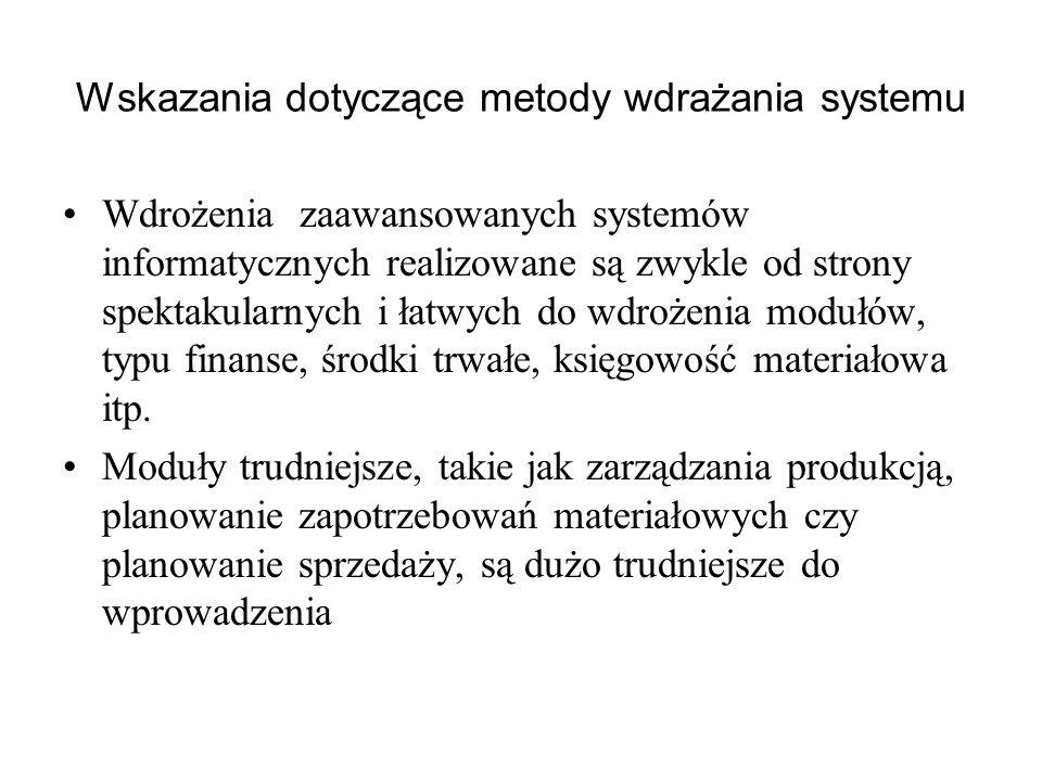 Wskazania dotyczące metody wdrażania systemu