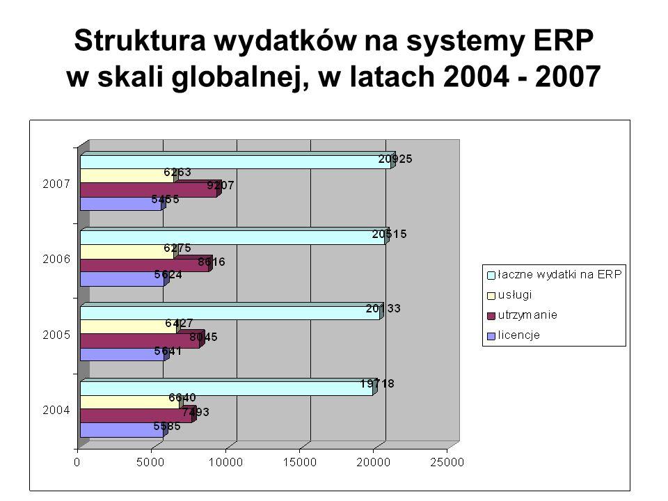 Struktura wydatków na systemy ERP w skali globalnej, w latach 2004 - 2007