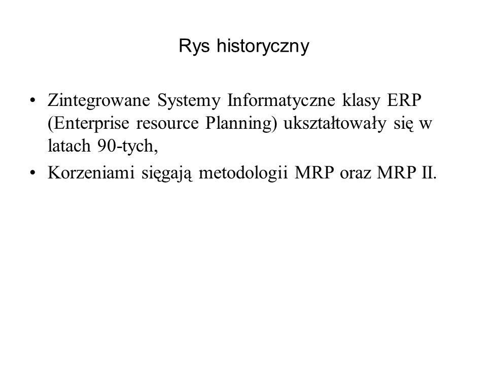 Rys historyczny Zintegrowane Systemy Informatyczne klasy ERP (Enterprise resource Planning) ukształtowały się w latach 90-tych,