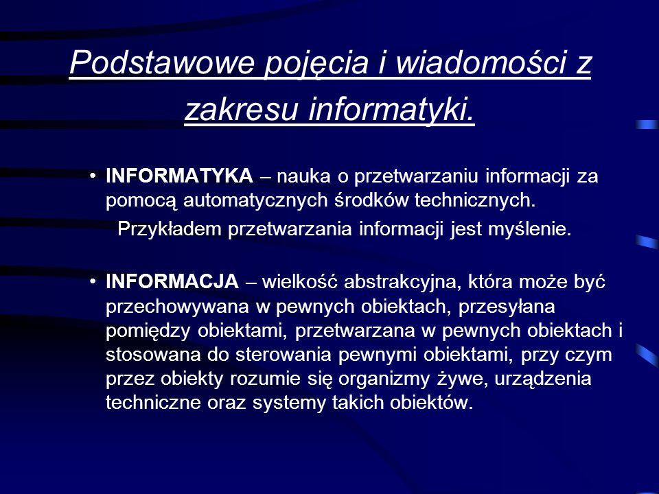 Podstawowe pojęcia i wiadomości z zakresu informatyki.