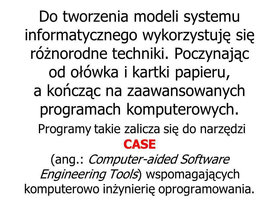 Do tworzenia modeli systemu informatycznego wykorzystuję się różnorodne techniki.