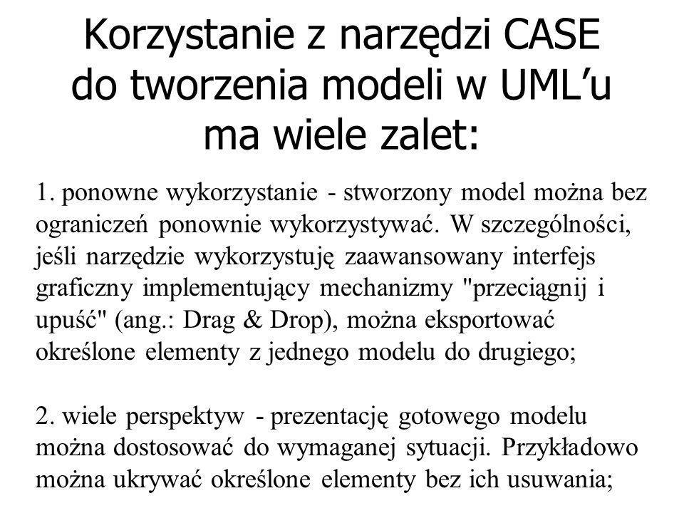 Korzystanie z narzędzi CASE do tworzenia modeli w UML'u ma wiele zalet: