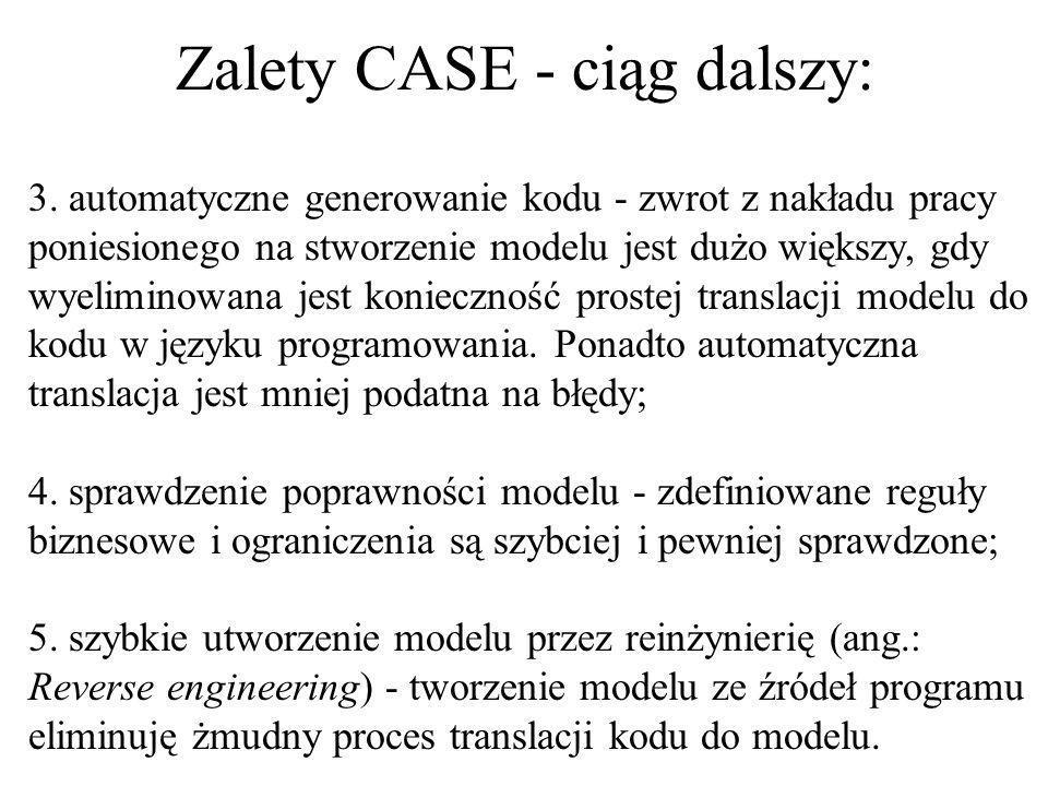 Zalety CASE - ciąg dalszy:
