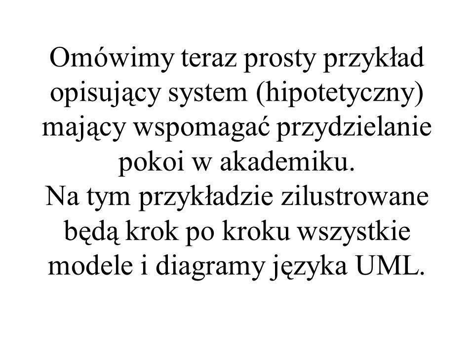 Omówimy teraz prosty przykład opisujący system (hipotetyczny) mający wspomagać przydzielanie pokoi w akademiku.