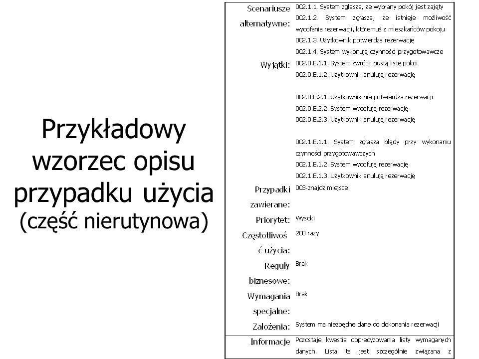 Przykładowy wzorzec opisu przypadku użycia (część nierutynowa)