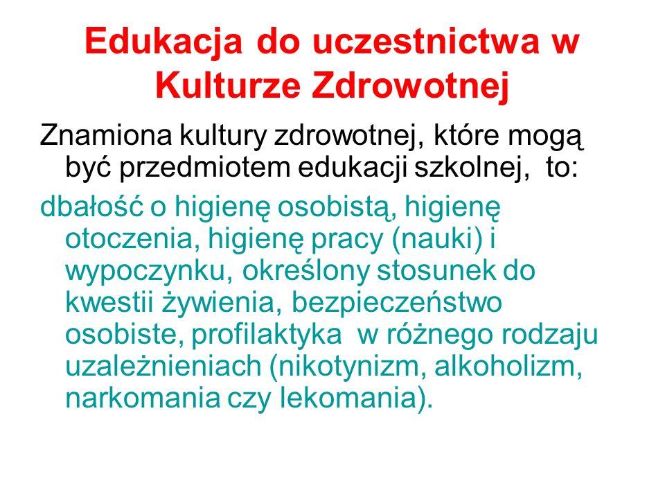 Edukacja do uczestnictwa w Kulturze Zdrowotnej
