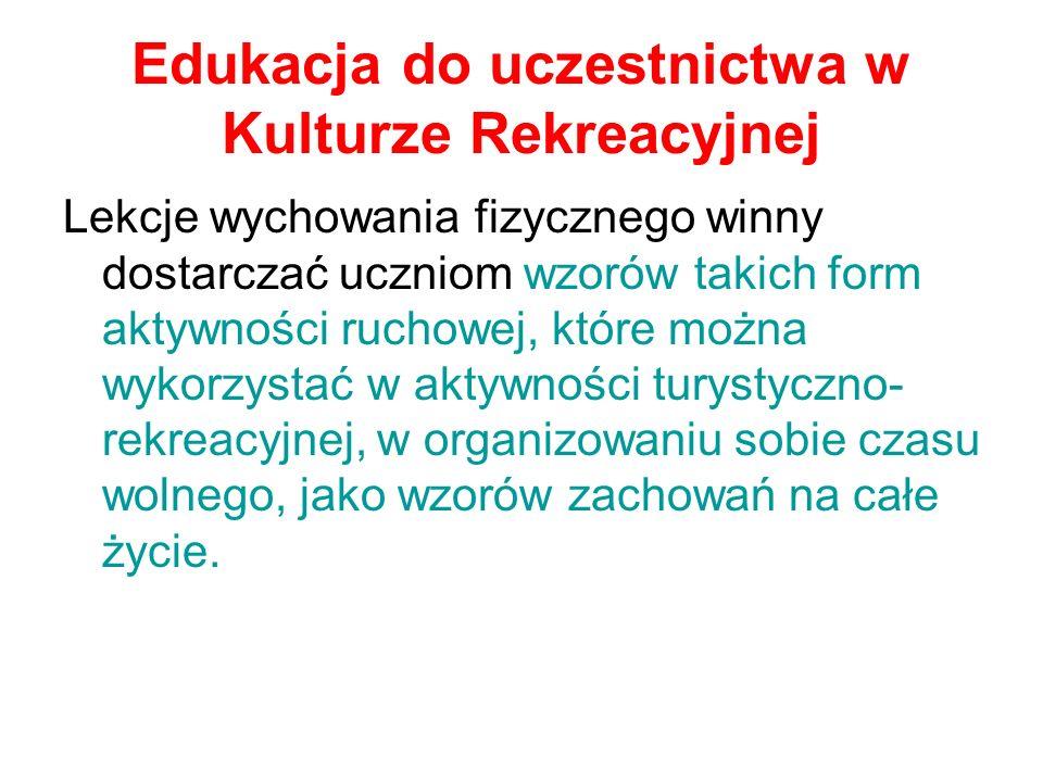 Edukacja do uczestnictwa w Kulturze Rekreacyjnej