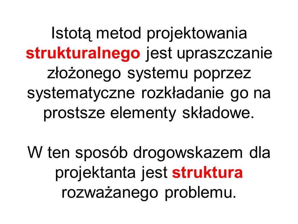 Istotą metod projektowania strukturalnego jest upraszczanie złożonego systemu poprzez systematyczne rozkładanie go na prostsze elementy składowe.