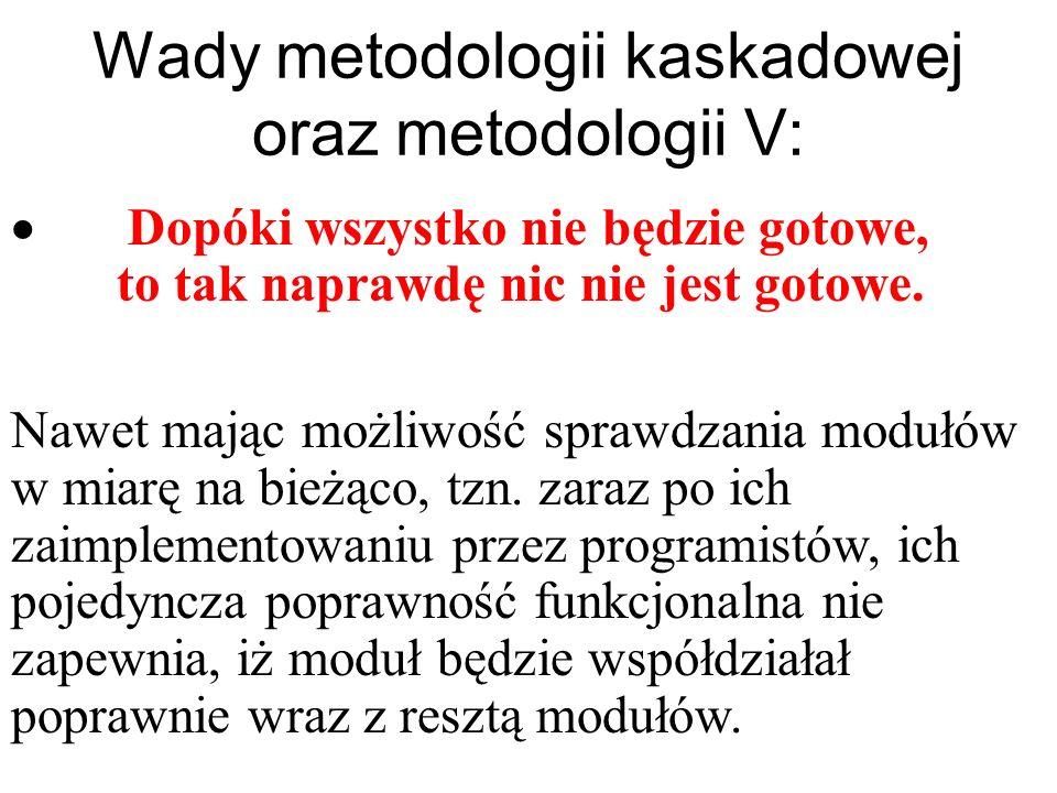 Wady metodologii kaskadowej oraz metodologii V: