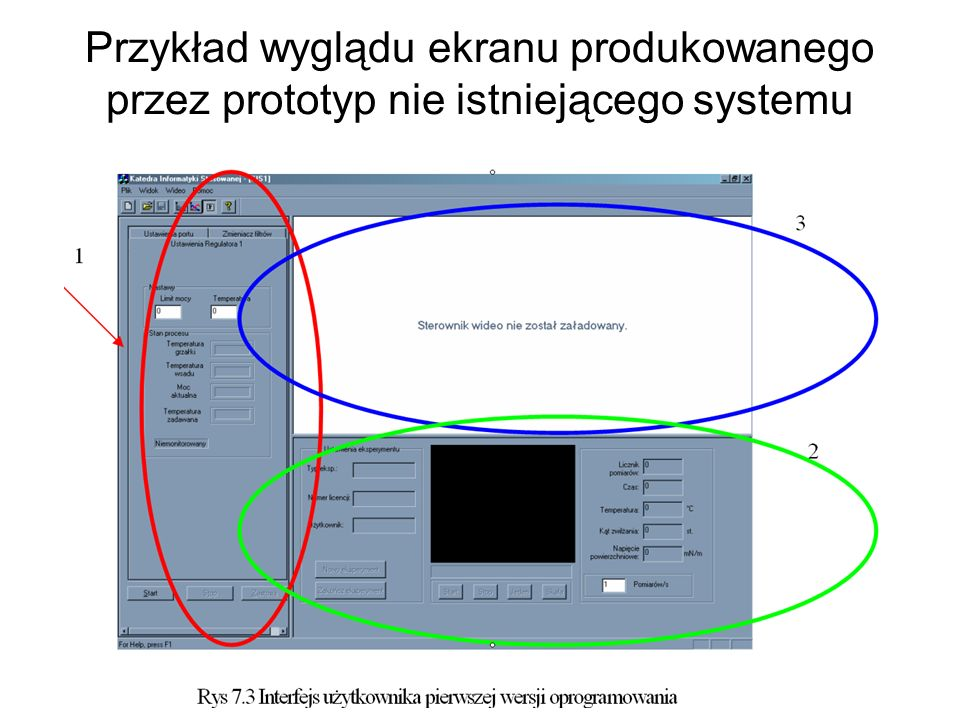 Przykład wyglądu ekranu produkowanego przez prototyp nie istniejącego systemu