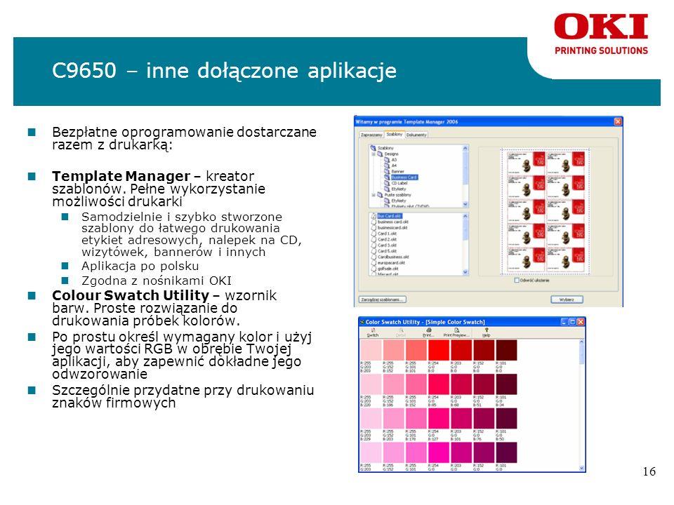 C9650 – inne dołączone aplikacje