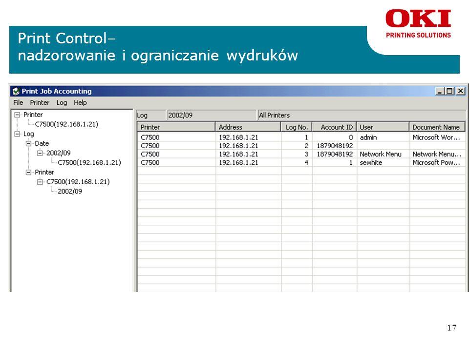 Print Control– nadzorowanie i ograniczanie wydruków