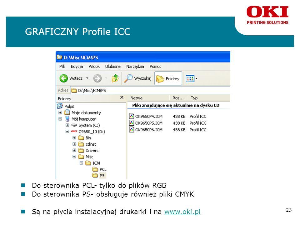 GRAFICZNY Profile ICC Do sterownika PCL- tylko do plików RGB