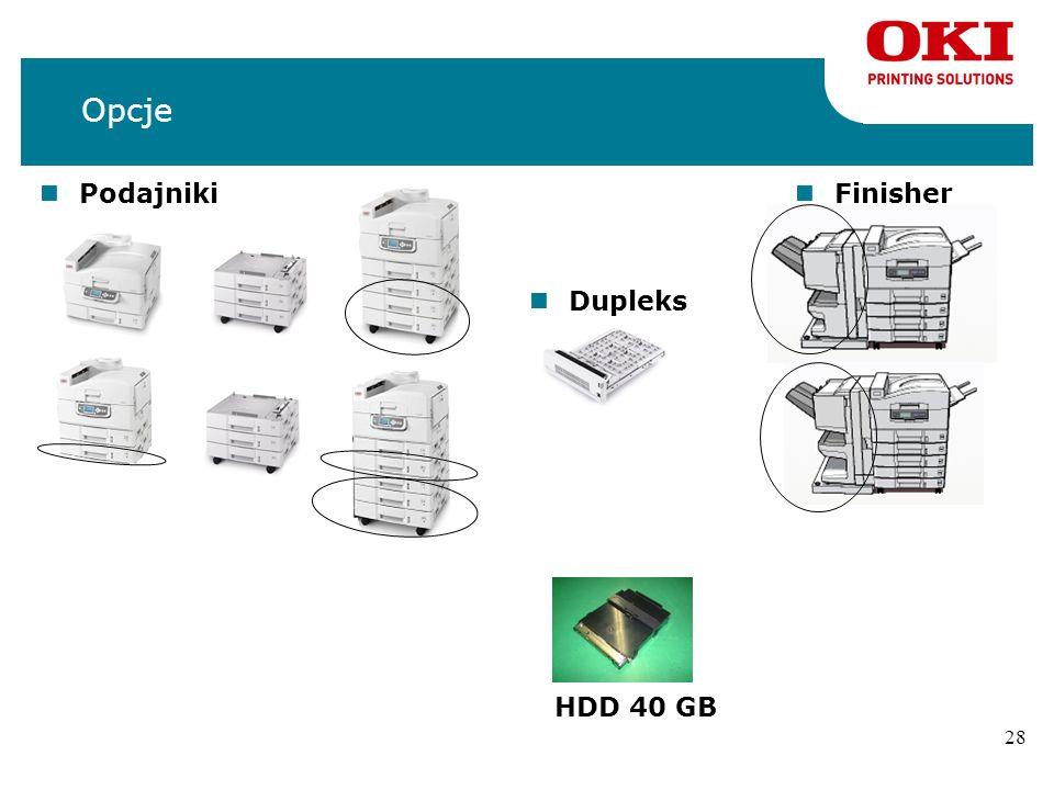 Opcje Podajniki Finisher Dupleks HDD 40 GB