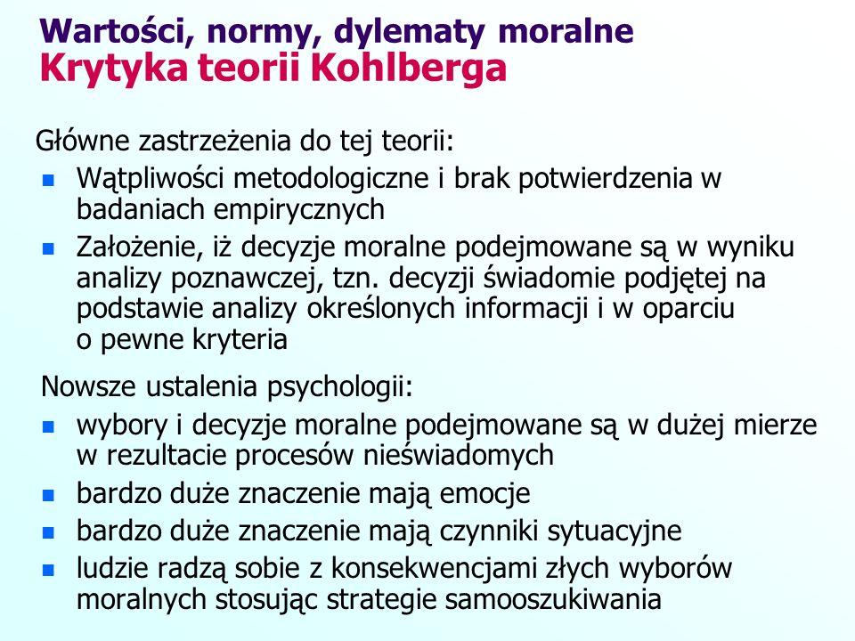 Wartości, normy, dylematy moralne Krytyka teorii Kohlberga