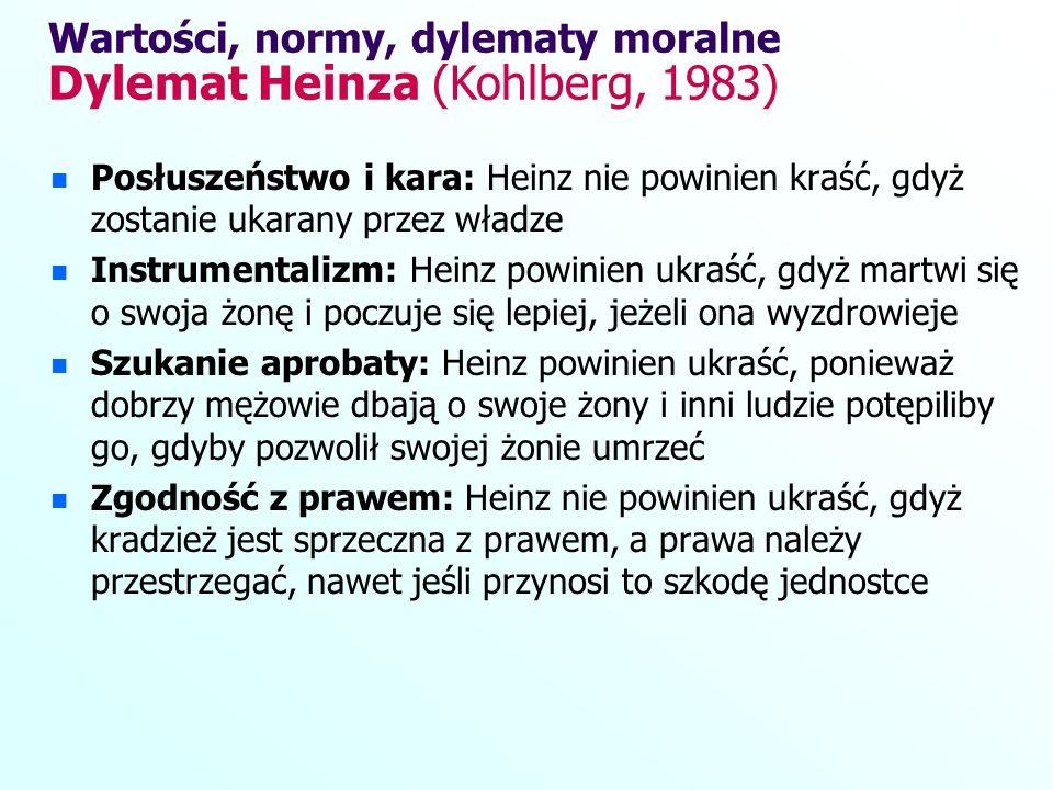 Wartości, normy, dylematy moralne Dylemat Heinza (Kohlberg, 1983)