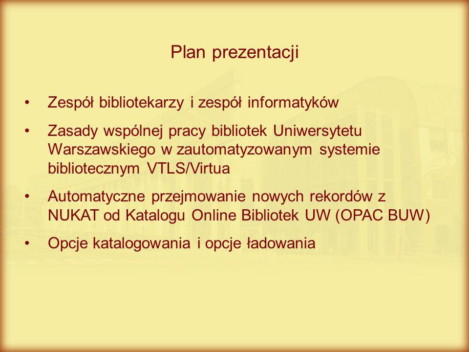 Plan prezentacji Zespół bibliotekarzy i zespół informatyków
