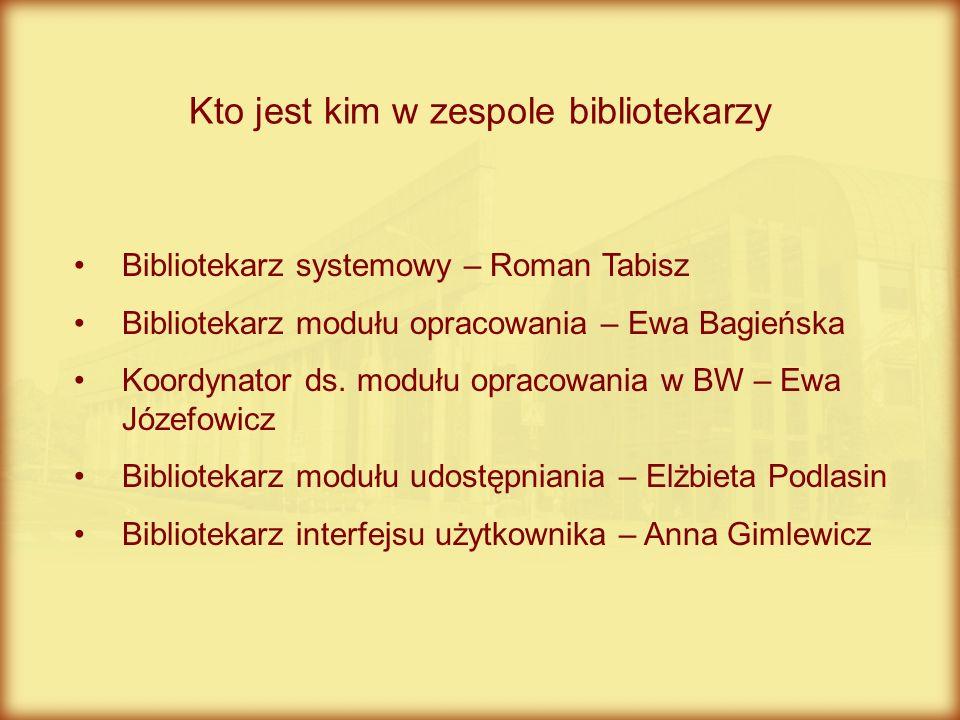 Kto jest kim w zespole bibliotekarzy