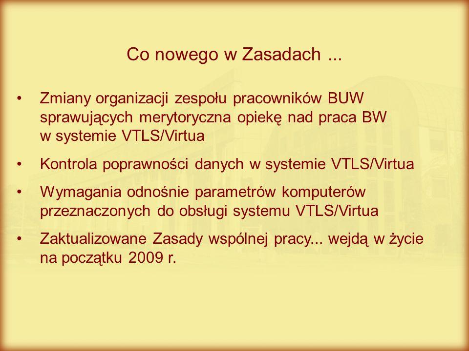 Co nowego w Zasadach ... Zmiany organizacji zespołu pracowników BUW sprawujących merytoryczna opiekę nad praca BW w systemie VTLS/Virtua.