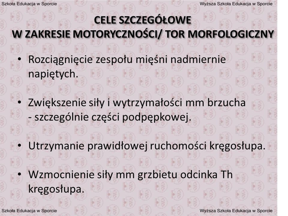 CELE SZCZEGÓŁOWE W ZAKRESIE MOTORYCZNOŚCI/ TOR MORFOLOGICZNY