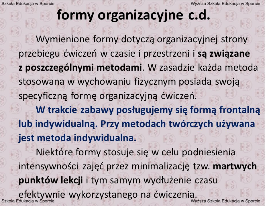 formy organizacyjne c.d.