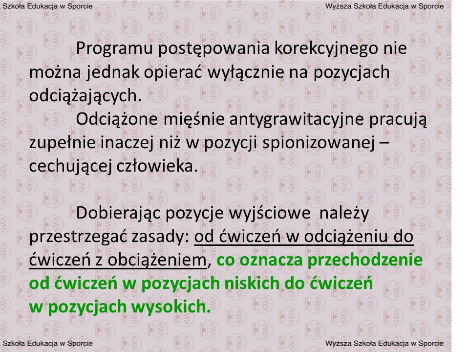 Programu postępowania korekcyjnego nie można jednak opierać wyłącznie na pozycjach odciążających.