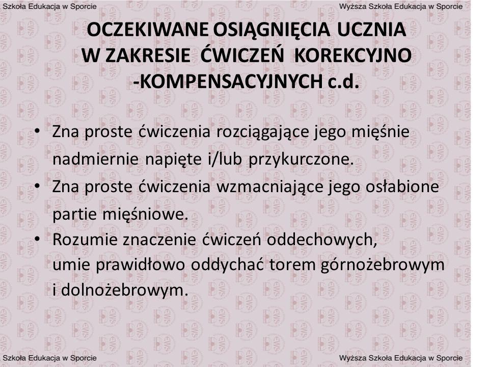 OCZEKIWANE OSIĄGNIĘCIA UCZNIA W ZAKRESIE ĆWICZEŃ KOREKCYJNO -KOMPENSACYJNYCH c.d.