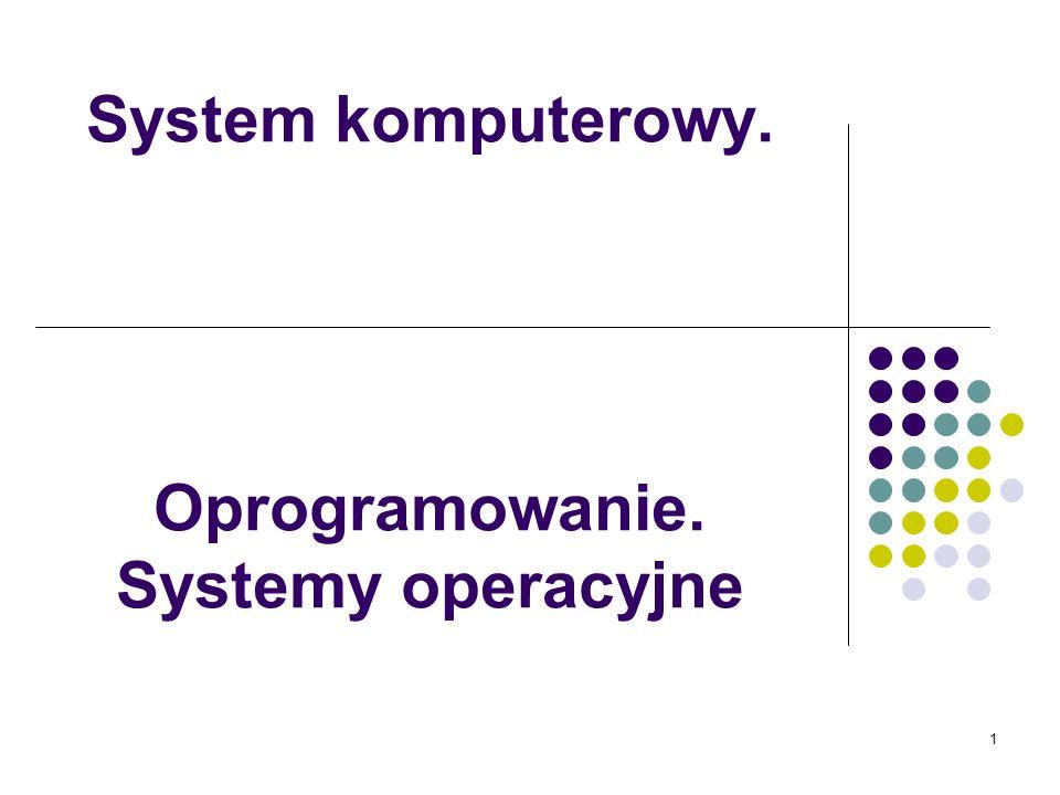 System komputerowy. Oprogramowanie. Systemy operacyjne