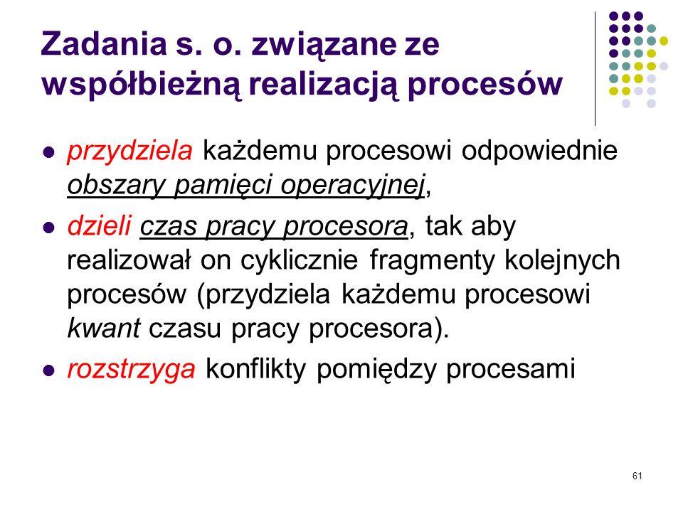 Zadania s. o. związane ze współbieżną realizacją procesów