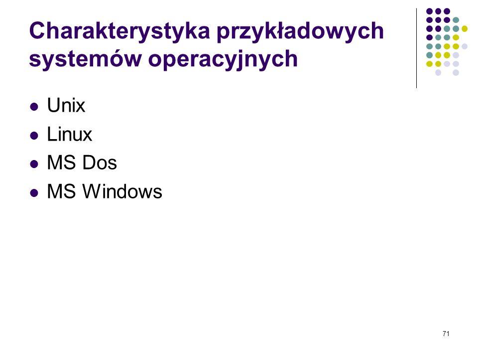 Charakterystyka przykładowych systemów operacyjnych