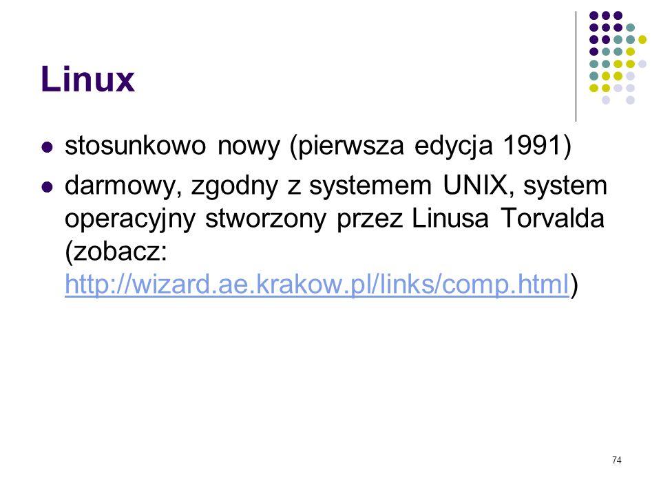 Linux stosunkowo nowy (pierwsza edycja 1991)