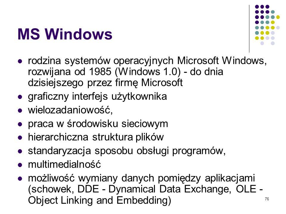MS Windowsrodzina systemów operacyjnych Microsoft Windows, rozwijana od 1985 (Windows 1.0) - do dnia dzisiejszego przez firmę Microsoft.