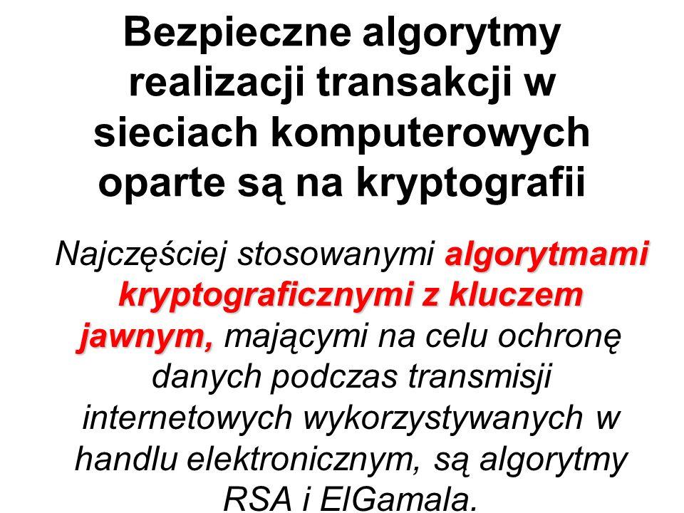 Bezpieczne algorytmy realizacji transakcji w sieciach komputerowych oparte są na kryptografii