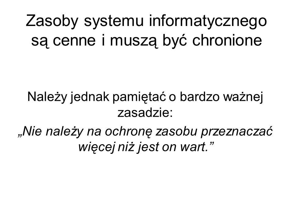Zasoby systemu informatycznego są cenne i muszą być chronione