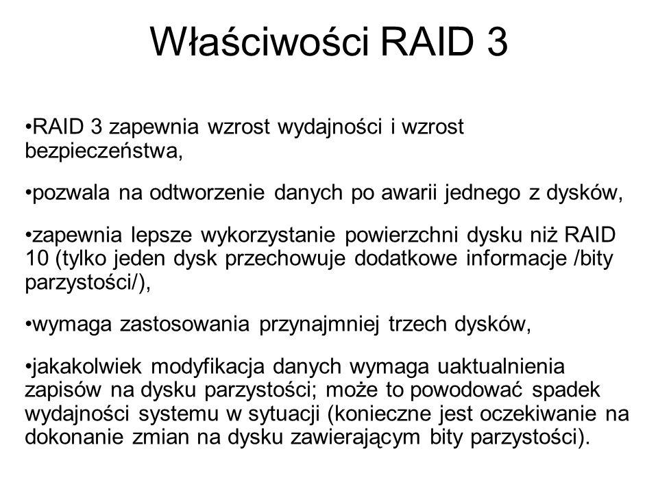 Właściwości RAID 3 RAID 3 zapewnia wzrost wydajności i wzrost bezpieczeństwa, pozwala na odtworzenie danych po awarii jednego z dysków,