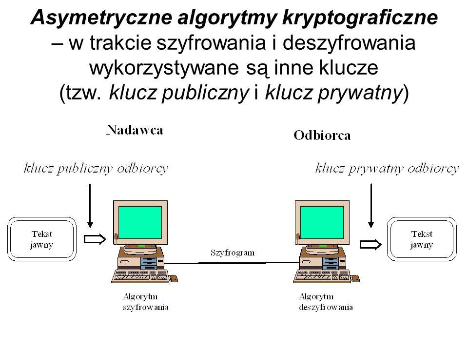 Asymetryczne algorytmy kryptograficzne – w trakcie szyfrowania i deszyfrowania wykorzystywane są inne klucze (tzw.