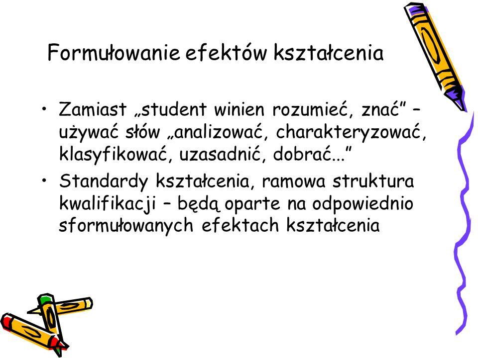Formułowanie efektów kształcenia