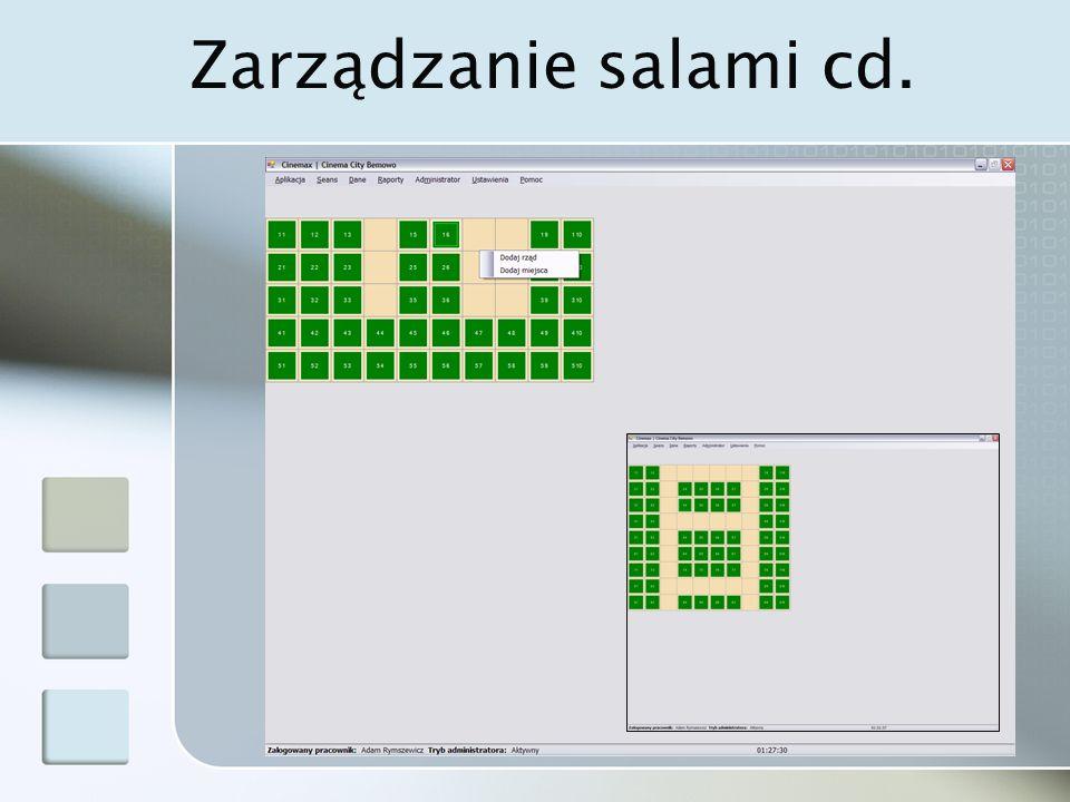 Zarządzanie salami cd.