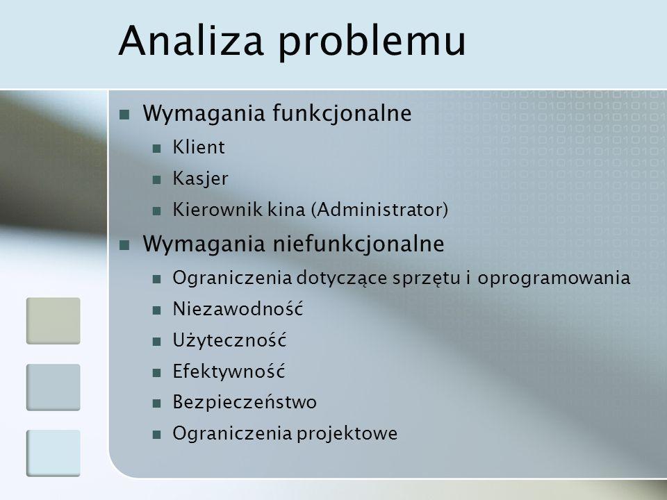 Analiza problemu Wymagania funkcjonalne Wymagania niefunkcjonalne