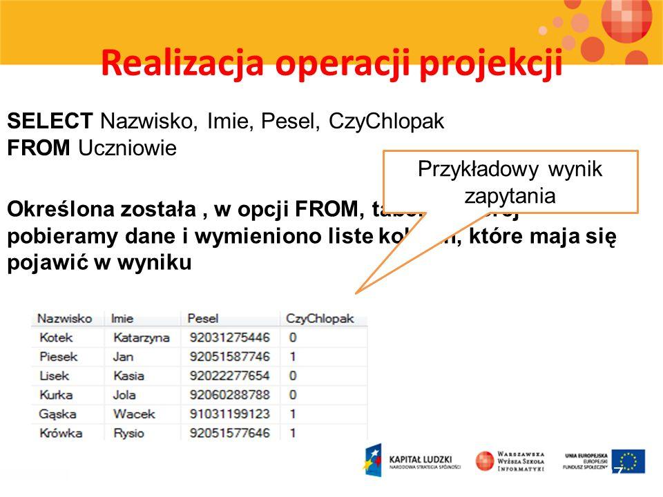 Realizacja operacji projekcji