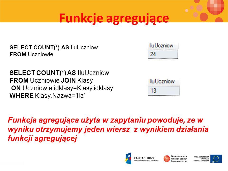 Funkcje agregująceSELECT COUNT(*) AS IluUczniow. FROM Uczniowie. SELECT COUNT(*) AS IluUczniow. FROM Uczniowie JOIN Klasy.