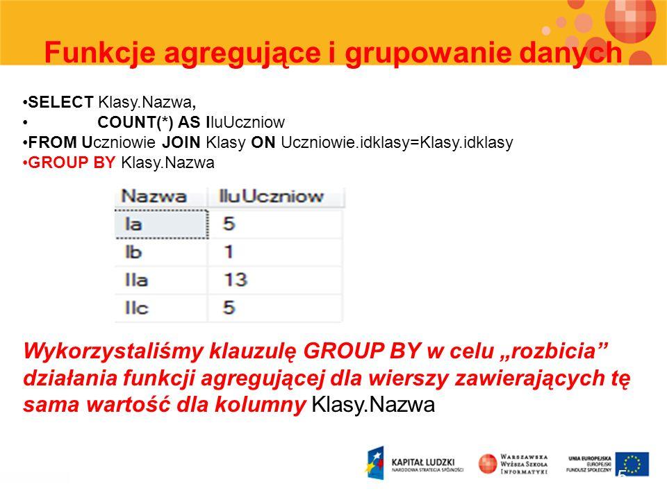 Funkcje agregujące i grupowanie danych